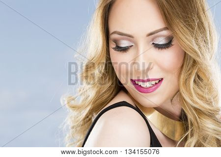 Young woman face  and make up