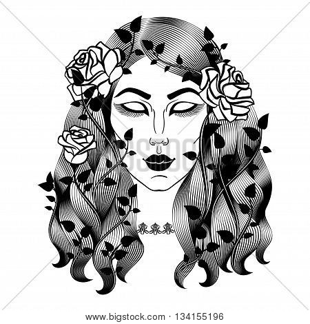 Portrait of sleeping beautiful woman. Girl face with roses. Sleeping Beauty. Vector illustration