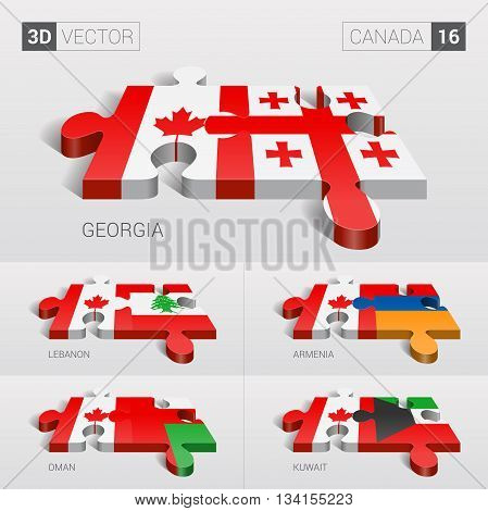 Canada and Georgia, Lebanon, Armenia, Oman, Kuwait Flag. 3d vector puzzle. Set 16.