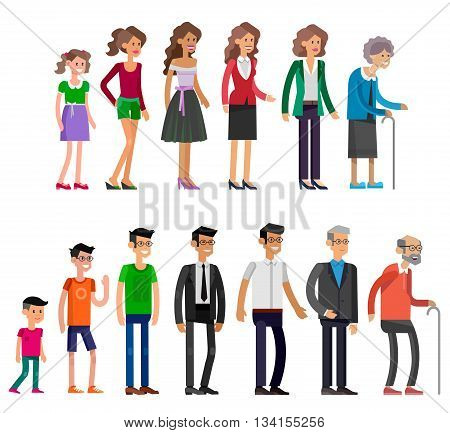 Detailed characters people isolated on white background. Generations woman and men. All age categories - infancy, childhood, adolescence, youth, maturity, old age. Stages of development
