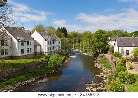 Dunblane Scotland UK view of the Allan Water river in summer which runs through the town