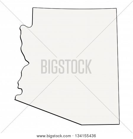 Arizona (USA) detailed outline map with shadow