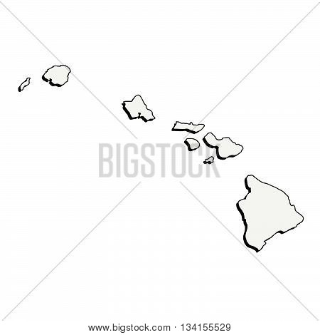 Vector Hawaii (USA) detailed outline map with shadow