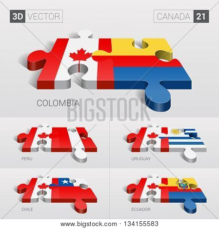 Canada and Colombia, Peru, Uruguay, Chile, Ecuador Flag. 3d vector puzzle. Set 21.