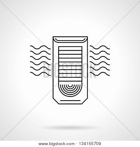 Column conditioner with abstract air blowing sign. Filtration, cleaning and cooling air system for household, office, industry. Flat line style vector icon.