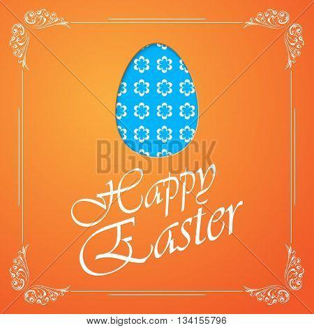 Big blue Easter egg silhouette isolated on orange background. eps10