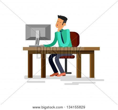 Vector detailed character corporate business worker sitting behind desk and dream about vacation. Office worker sleeps at work. Cool flat  illustration. Vector business Office worker character