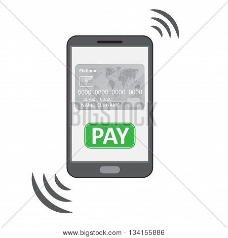 Mobile phone silhouette with credit card PAY button