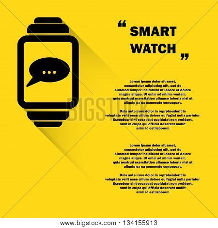 Black smart watch silhouette isolated on yellow background with sample text