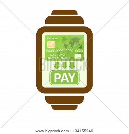 Smart watch silhouette payments symbol isolated on white