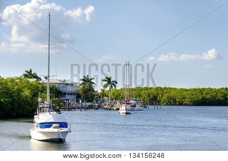Small boats in the small palm bay