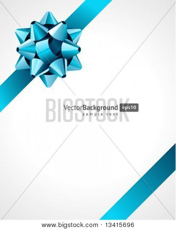 Gift blue bow vector background. Eps 10