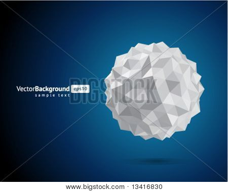 Abstract 3d origami paper sphere vector background
