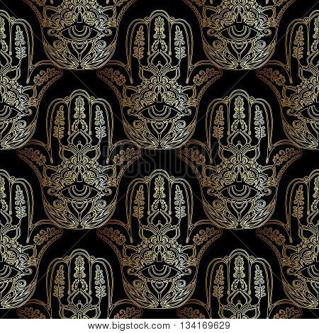 Magic seamless pattern with golden Hamsa hand, Hand of Fatima. Magic amulet, symbol of protection from devil eye
