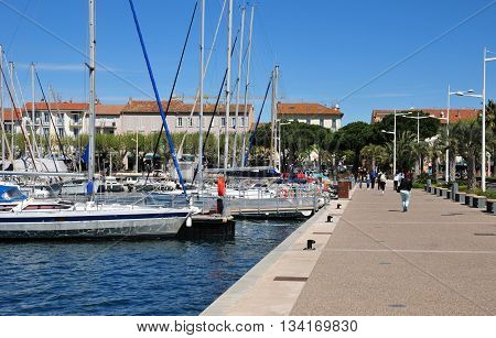 Saint Raphael; France - april 14 2016 : boats in the marina