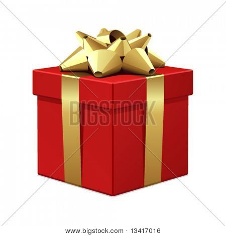 Red gift with gold bow vector illustration
