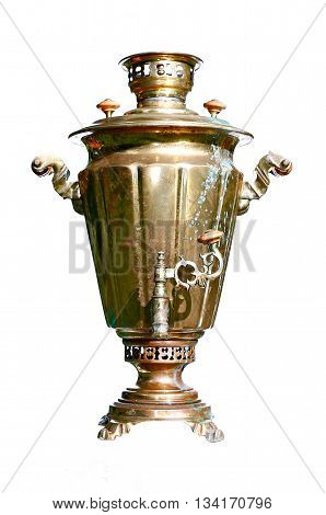 Vintage Russian retro brass samovar isolated on white background