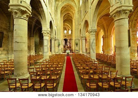 Triel sur Seine France - march 1 2016 : the gothic and renaissance Saint Martin church