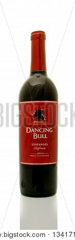 Winneconne WI - 8 June 2016: Bottle of Dancing Bull wine on an isolated background
