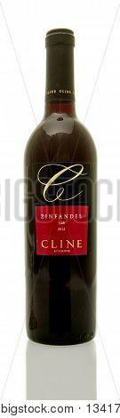 Winneconne WI - 8 June 2016: Bottle of Cline zinfandel wine on an isolated background