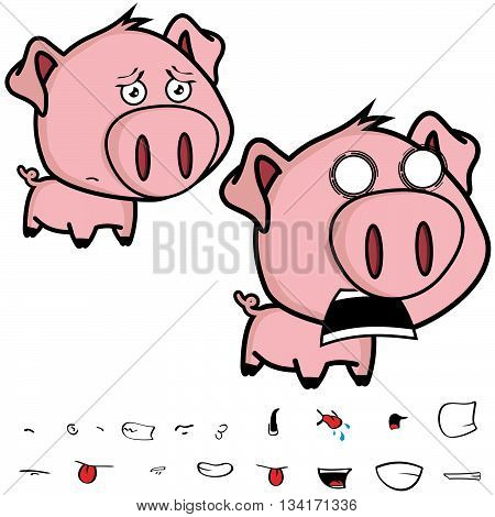 cute little big head pig cartoon sticker card in vector format