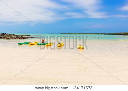 El Garrapatero Beach On Santa Cruz Island In Galapagos.