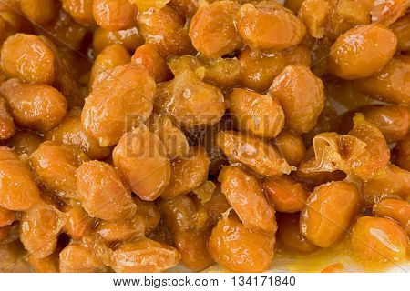 Background texture of fermented soybeans known as Natto.