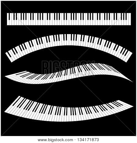 Black and White Piano keys with different styles