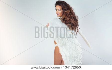 Smiling Woman As An Angel.