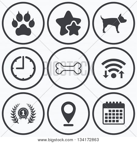 Clock, wifi and stars icons. Pets icons. Cat paw with clutches sign. Winner laurel wreath and medal symbol. Pets food. Calendar symbol.