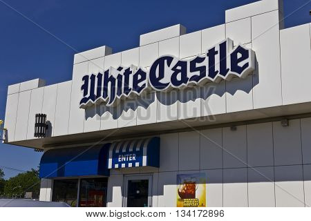 Indianapolis - Circa June 2016: White Castle Hamburger Location. White Castle Serves 2 by 2 Inch Sliders I
