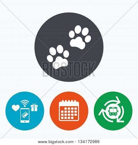 Paw sign icon. Dog pets steps symbol. Mobile payments, calendar and wifi icons. Bus shuttle.