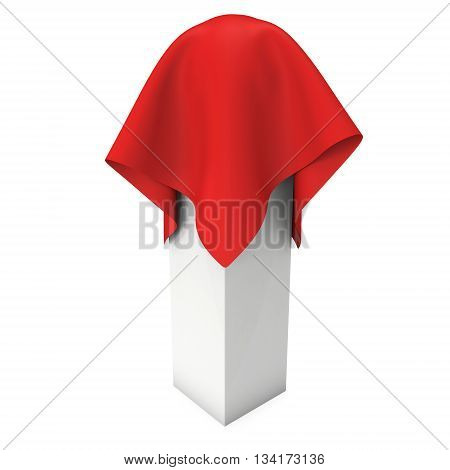 Presentation pedestal covered with red cloth. Sphere object cover by cloth. 3d render isolated on white.