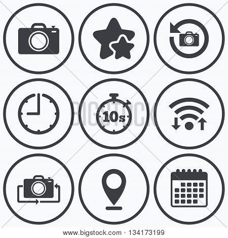 Clock, wifi and stars icons. Photo camera icon. Flip turn or refresh symbols. Stopwatch timer 10 seconds sign. Calendar symbol.