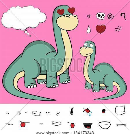 dinosaur brontosaurus expressions cartoon set in vector format