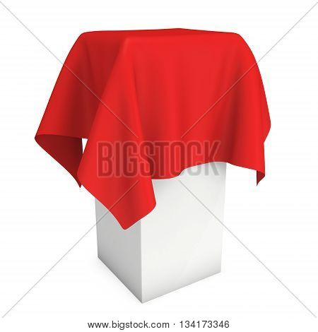 Presentation pedestal covered with a red cloth. Place for award or prize cover by cloth. 3d render isolated on white.