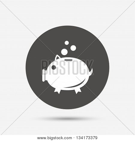 Piggy bank sign icon. Moneybox symbol. Gray circle button with icon. Vector