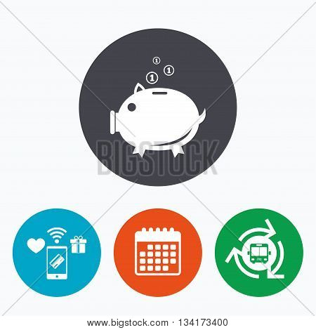 Piggy bank sign icon. Moneybox symbol. Mobile payments, calendar and wifi icons. Bus shuttle.