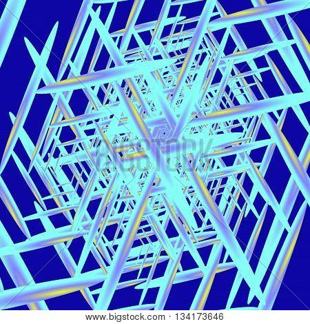 Crystallization. Blue crystals on a blue background for a background or pattern.