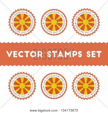 I Love Macedonia, The Former Yugoslav Republic Of Vector Stamps Set. Retro Patriotic Country Flag Ba