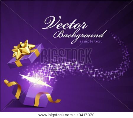 Open gift vector background