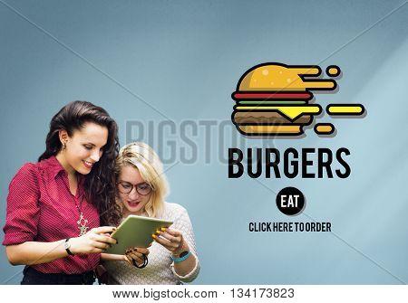 Burgers Online Buying Junk Food Nourishment Concept