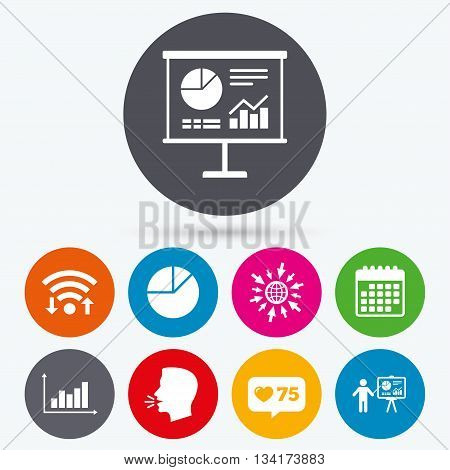 Wifi, like counter and calendar icons. Diagram graph Pie chart icon. Presentation billboard symbol. Supply and demand. Man standing with pointer. Human talk, go to web.