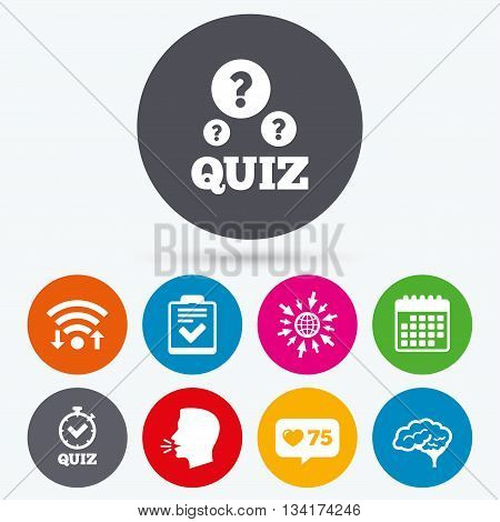 Wifi, like counter and calendar icons. Quiz icons. Human brain think. Checklist and stopwatch timer symbol. Survey poll or questionnaire feedback form sign. Human talk, go to web.