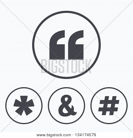 Quote, asterisk footnote icons. Hashtag social media and ampersand symbols. Programming logical operator AND sign. Icons in circles.