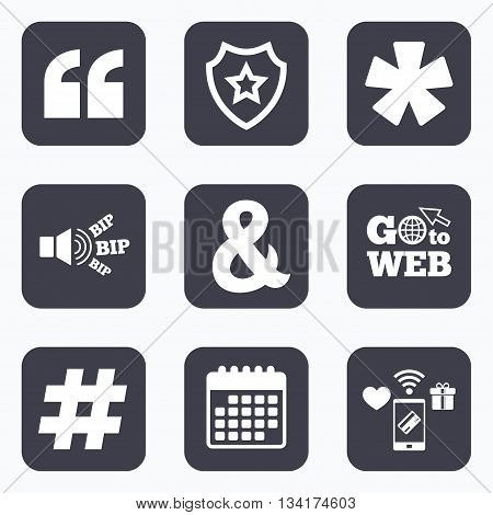 Mobile payments, wifi and calendar icons. Quote, asterisk footnote icons. Hashtag social media and ampersand symbols. Programming logical operator AND sign. Go to web symbol.