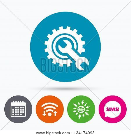 Wifi, Sms and calendar icons. Repair tool sign icon. Service symbol. Hammer with wrench. Go to web globe.