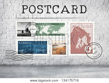 Airmail Mail Postcard Letter Stamp Concept