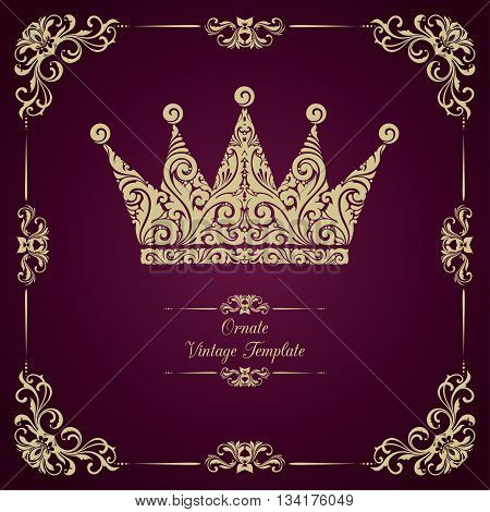 Vintage vector  template with ornamental decorative frame and crown.