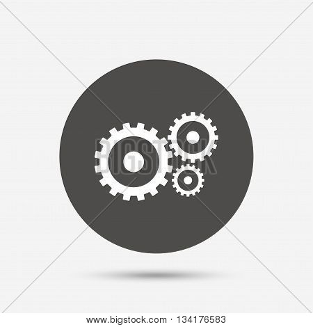 Cog settings sign icon. Cogwheel gear mechanism symbol. Gray circle button with icon. Vector